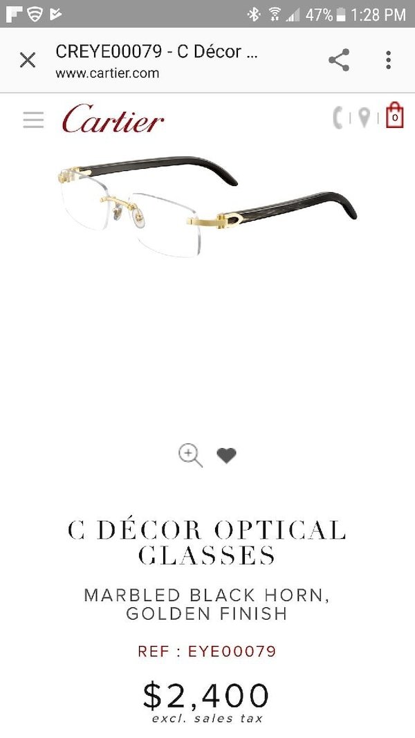 a859b1325d57 Cartier C Decor Marbled Black Horn Golden Finish For In