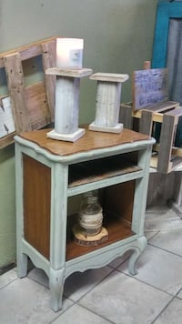 brown and gray wooden side table