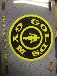 Golds gym license plate purple