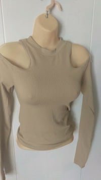women's beige knitted crew-neck cold-shoulder sweater