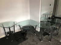two clear glass top table with gray metal base Denver, 80249