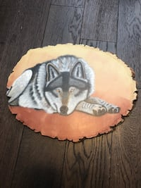 Wolf painting on wood  Coquitlam, V3B
