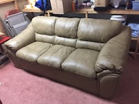 brown leather 3-seat sofa Brighton