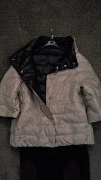 FROM ITALY: L-size superwarm and downy black and taupe button up jacket, can be worn inside out: back or beige
