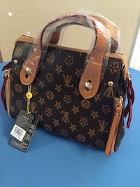 monogrammed brown Louis Vuitton leather tote bag 798 km