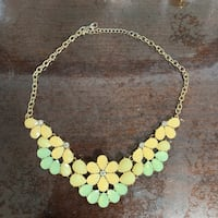 Collar Necklace - Peach and Soft Green