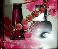 Bold creamy pink roses with stones necklace Mississauga