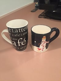 two black-and-white ceramic mugs Whitby, L1N 1W4