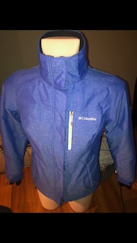 Like new Columbia jacket blue has removable hood.   Grande Prairie, T8V