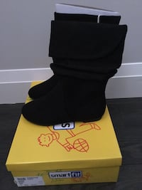 New Girl's Black Suede Like Boots Size 2.5