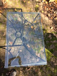 Crate and Barrel coffee table,black metal/glass GAITHERSBURG