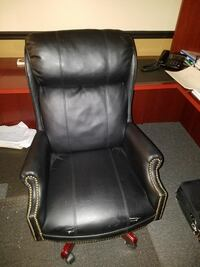 black leather padded rolling armchair Jeannette, 15644
