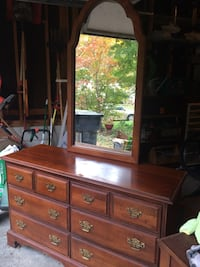 Elegant 6 drawer cherry dresser with mirror. Minor water damage as shown.  Henrico, 23233
