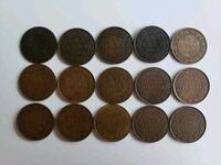 15pcs 1859 to 1920 Antique Large Canadian Pennies  Calgary, T2R 0S8