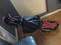 black and red golf bag with golf club set