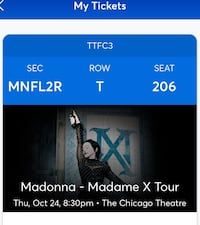 FLOOR seats to Madonna concert Chicago Theater October 24th 2 x tickets $410 each Innisfil, L9S