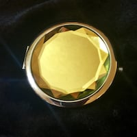 Silver and Yellow Gem Compact Mirror and Silk Bag San Antonio