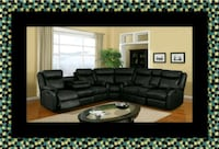Cshape sectional black bonded leather 67 km
