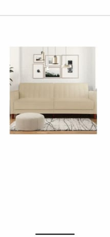 Beige/Tan velvet convertible sleeper futon/ sofa