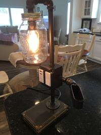 Custom made Mason Jar table lamp 312 mi