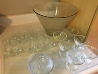 Punch bowl set, 14 piece glass set - $10; also crystal punch bowl set available $10 Mississauga, L5L 5P5