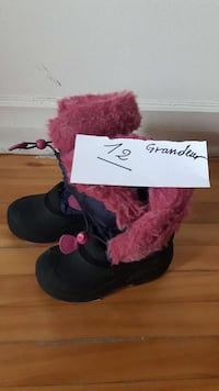 toddler's red-and-black fur boots
