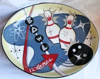 "Retro Bowl-O-Rama Large Serving Party Platter Catering Party 12 Lanes 14"" x 17.5"" Gaithersburg"