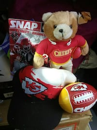 Kansas City Chiefs football, black fitted cap, and brown bear plush toy Springfield, 65806