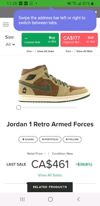 Jordan 1 retro armed forces Toronto, M9M 1E2