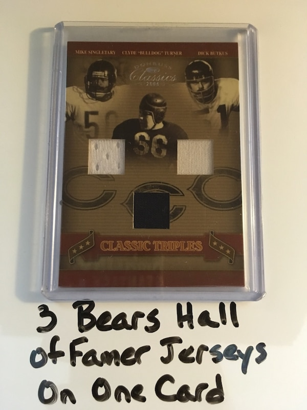 separation shoes 72cce 6c65f 3 Chicago Bears Hall of Famers Jersey Swatches On One Card. Mike Singletary  Clyde 'Bulldog' Turner Dick Butkus. #'d 086/100.