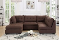 Sofa Loveseat Sectional Living Room Brown Fabric Soft Wide Seats Houston