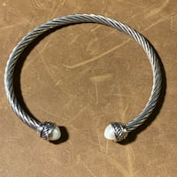 Classic Sterling Silver & Pearl Cable Bracelet  Chantilly, 20151