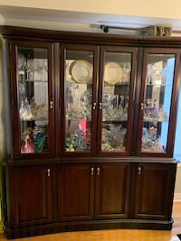 Solid Dark Cherry Wood 2 piece spacious Glass Hutch (price negotiable) Richmond Hill, L4S 2V8