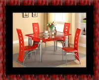 Glass red dining table with leather chairs Bowie, 20720