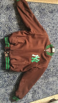 Brown and green New York Yankees zip-up letterman jacket White Plains, 20695