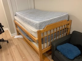 Two identical twin beds that can become a bunk beds + 4 mattresses