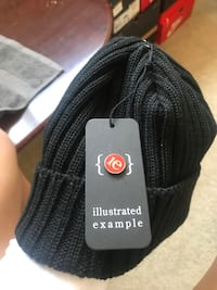black Illustrated Example knit cap