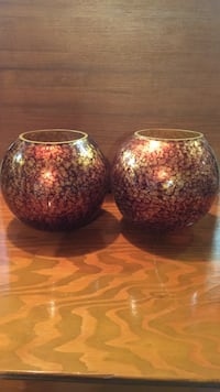 2 glass bronze painted vases