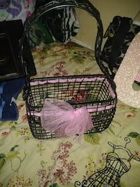 black wire metal basket with pink ribbon Euless, 76039