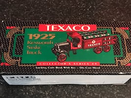 Collectible Texaco locking coin bank with key die cast metal
