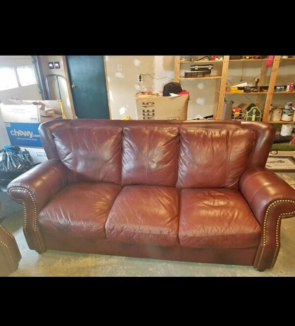 Brown leather sofa, loveseat and chair set