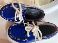 blue-and-white Sperry boat shoes