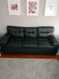 Black Faux Leather Couches