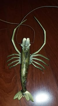 Brass crawfish shrimp wall hanging Andrea by Sadek 11.5 inches Falls Church