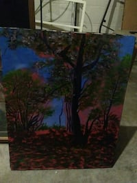 green, black, and pink trees still life canvas painting