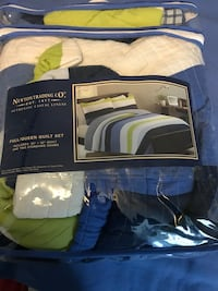 blue-white-and-green Newton Trading Co. bed set pack Gaithersburg, 20879