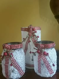Three red and white candle holders Birmingham, 35215