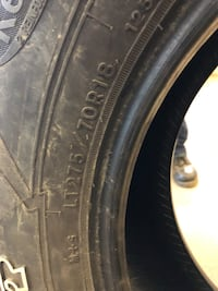 Goodyear wrangler tires with kevlar All terrain adventure.  Came off new f250. Have 6020 miles when they came off.  Lt275/70/r18. Retails 220 ea on tire rack Hopewell Junction, 12533