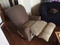 Brown fabric sofa chair with ottoman Toronto, M5T 2S4