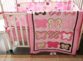 Baby girl crib bedding blanket, 2 fitted sheets, skirt and bumpers
